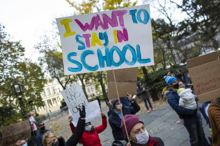 Parents marched in New York in November 2020 demanding that schools reopen