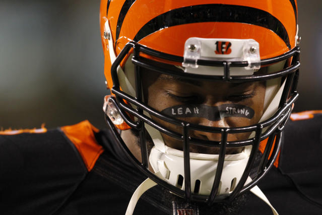 Former Cincinnati Bengals player Devon Still showed his support for the cancer fight of his 4-year-old daughter, Leah, by having her name on his face tape during warm-up before a game against the Cleveland Browns in November 2014. Leah is now entering her third year in remission. (Photo: John Sommers/Icon Sportswire/Corbis via Getty Images)