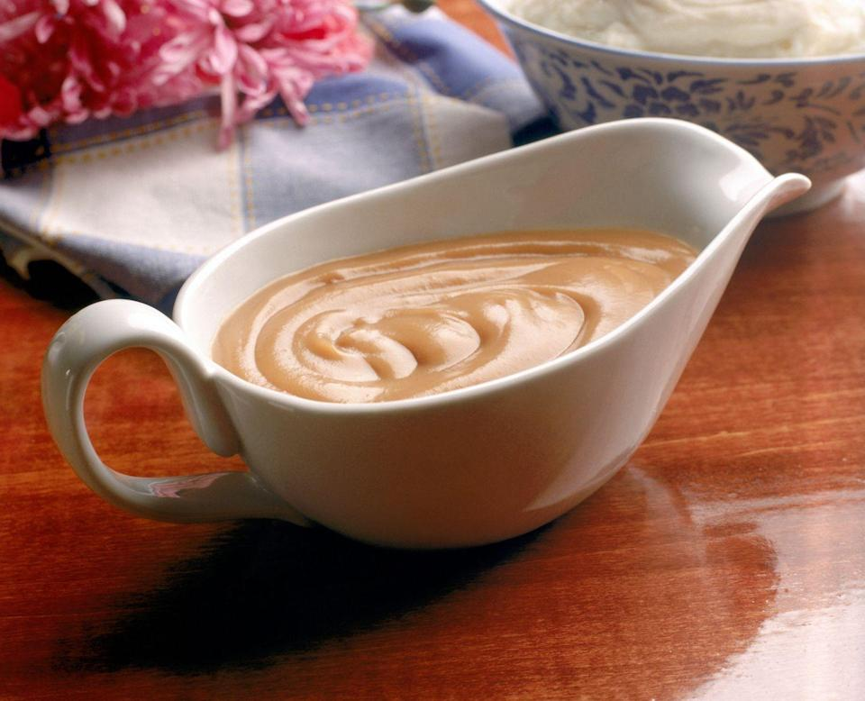<p>If you thicken your gravy and sauces with flour or cornstarch, they're not going to be freezer-friendly because they're 100 percent going to separate awkwardly. </p>