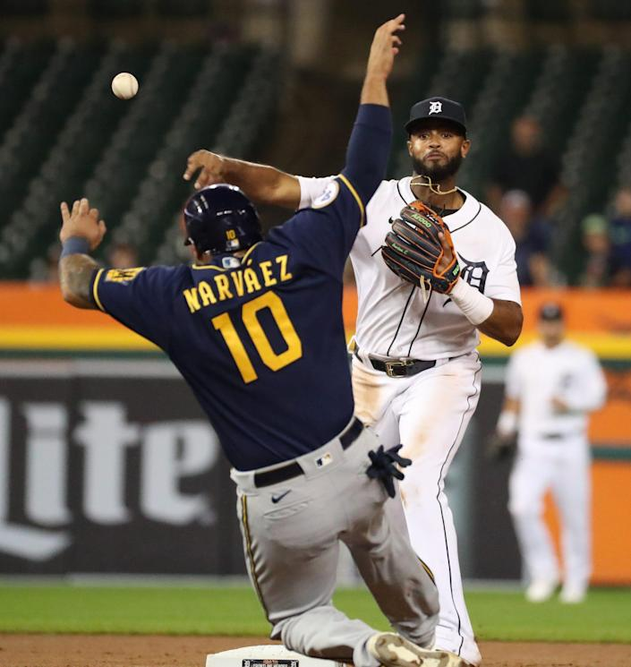 Detroit Tigers second baseman Willi Castro (9) gets the force out against Milwaukee Brewers catcher Omar Narvaez (10) during seventh inning action Tuesday, Sept. 14, 2021.