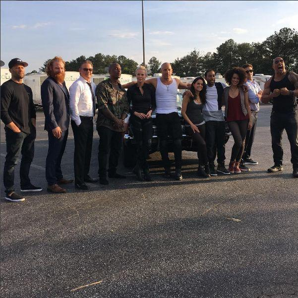 "The 'Fate of the Furious' cast, from left: Jason Statham, Kristofer Hivju, Kurt Russell, Tyrese Gibson, Charlize Theron, Vin Diesel, Michelle Rodriguez, Ludacris, Nathalie Emmanuel, Scott Eastwood, and Dwayne Johnson. (Photo: <a href=""https://www.instagram.com/p/BGPiG0LmPrE/?taken-by=vindiesel"" rel=""nofollow noopener"" target=""_blank"" data-ylk=""slk:Instagram"" class=""link rapid-noclick-resp"">Instagram</a>)<br>"