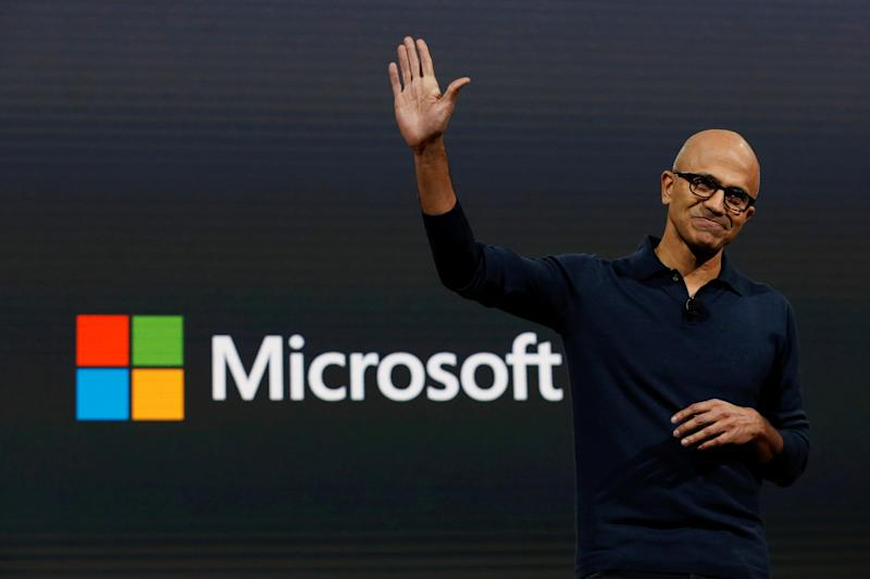 Microsoft Chief Executive Officer (CEO) Satya Narayana Nadella speaks at a live Microsoft event in the Manhattan borough of New York City, U.S.,October 26, 2016. REUTERS/Lucas Jackson TPX IMAGES OF THE DAY