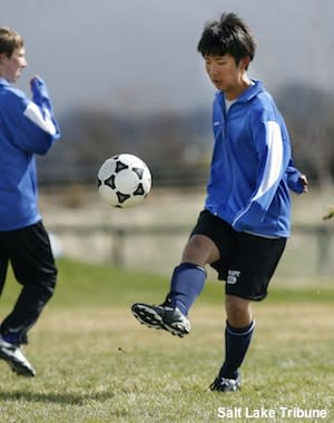Stansbury exchange student and soccer star Reo Fujimaki in practice