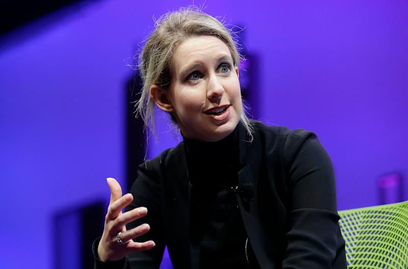 FILE - In this Nov. 2, 2015 file photo, Elizabeth Holmes, founder and CEO of Theranos, speaks at the Fortune Global Forum in San Francisco. Oscar-winning filmmaker Alex Gibney has premiered his latest documentary on the fraudulent tech startup Theranos at the Sundance Film Festival Thursday night, Jan. 24, 2019. (AP Photo/Jeff Chiu, File)