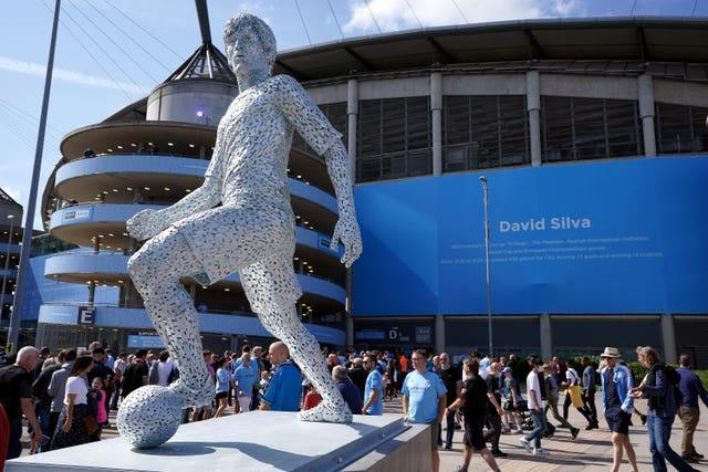 A new statue of Manchester City's former player David Silva