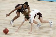 Stanford's Jana Van Gytenbeek and Missouri State's Brice Calip go after a loose ball during the second half of an NCAA college basketball game in the Sweet 16 round of the Women's NCAA tournament Sunday, March 28, 2021, at the Alamodome in San Antonio. (AP Photo/Morry Gash)