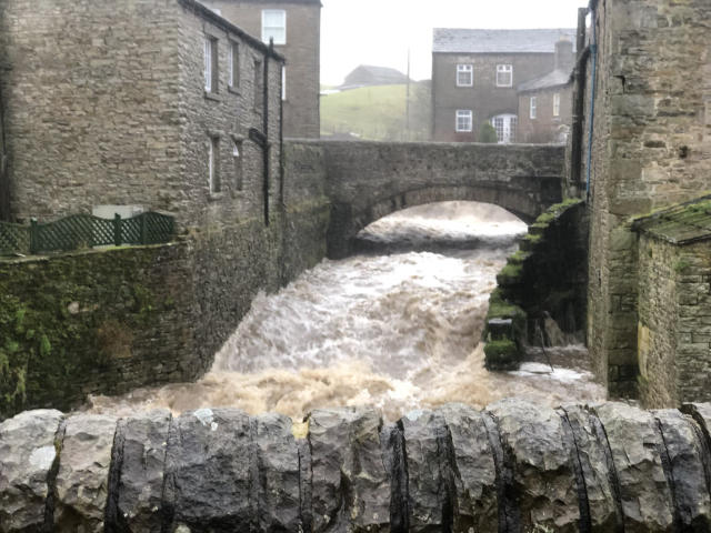 Flooding in Hawes, North Yorkshire. (PA)