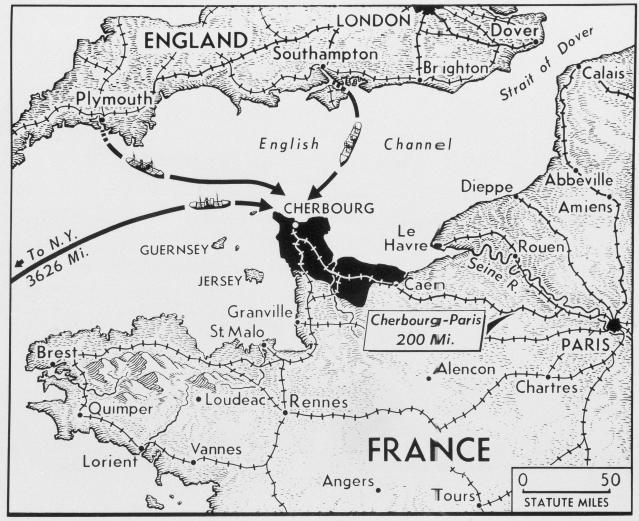 <p>Allied possession of the French port of Cherbourg and control of the Cherbourg peninsula would make available the first site on the Western European coast. Heavy supplies could be landed directly from ships sailing from Britain as well as from North America. The black area on the map is Allied-held territory. (Photo: AP) </p>