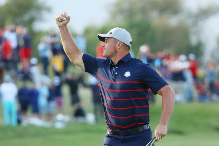 American Bryson DeChambeau of the United States celebrates during his Friday four-ball match on the opening day of the 43rd Ryder Cup at Whistling Straits (AFP/Andrew Redington)