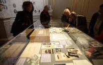 A small box with memorabilia of former Austrian Empress Elisabeth which lay hidden away for decades in the attic of Seisenegg Castle near the town of Amstetten in Lower Austria, is on display at Sisi museum in Vienna April 23, 2014. REUTERS/Heinz-Peter Bader