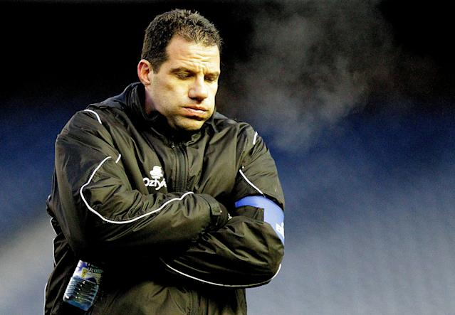 French rugby club Castres' coach, Laurent Labit, reacts after his team lost 22-24 during their Heineken Cup, pool one, rugby union match against Scottish team Edinburgh at an empty Murrayfield Stadum in Edinburgh, Scotland, on December 20, 2010. The game went ahead Monday, after being having been postponed due to bad weather on Sunday. AFP PHOTO/GRAHAM STUART (Photo credit should read GRAHAM STUART/AFP/Getty Images)