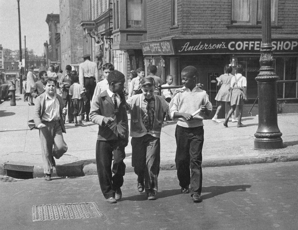 <p>Students walk home together after class in Brooklyn, New York.</p>