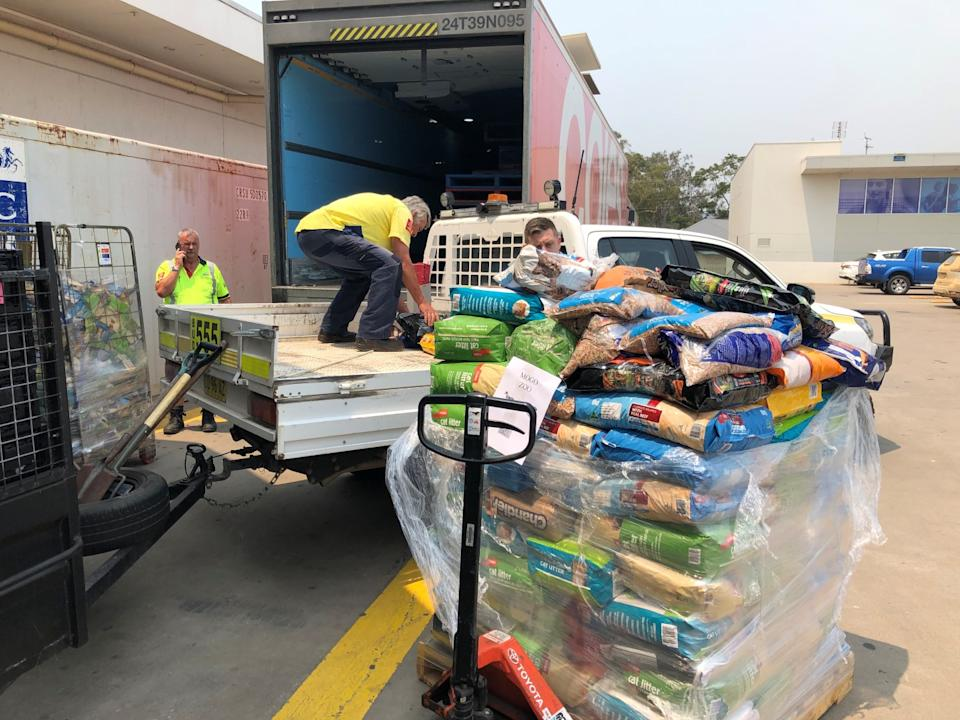 Donated stock from Coles being loaded onto a ute for Mogo Zoo on the NSW south coast. Source: Supplied/Coles