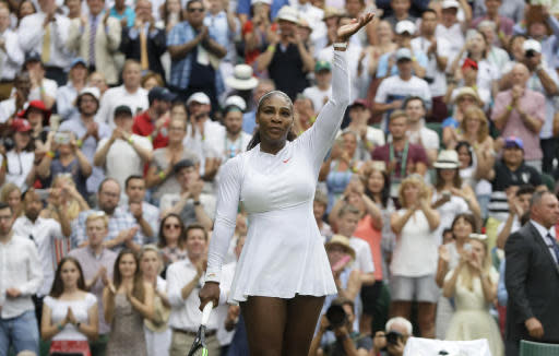 "<a class=""link rapid-noclick-resp"" href=""/olympics/rio-2016/a/1132744/"" data-ylk=""slk:Serena Williams"">Serena Williams</a> hasn't taken her husband's last name, but Wimbledon is addressing her as ""Mrs."" (AP Photo/Kirsty Wigglesworth)"