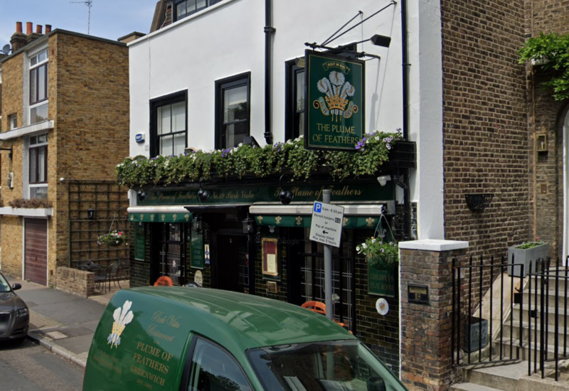The Plume of Feathers in Greenwich was accused of reopening. (Google)