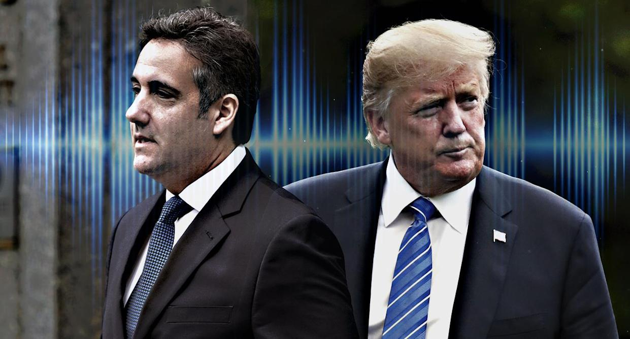 Michael Cohen and Donald Trump (Photo illustration: Yahoo News; photos: Don Emmert/AFP/Getty Images, Joshua Roberts/Reuters, iLexx/Getty Images)