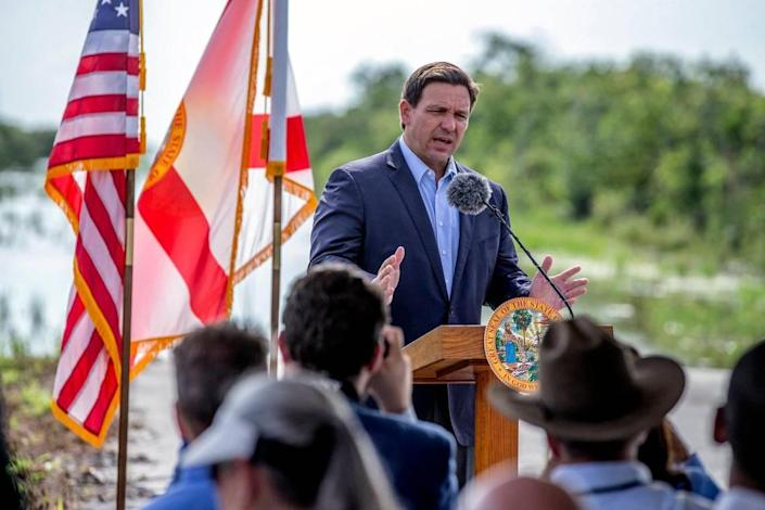 Governor Ron DeSantis announces the completion of the old Tamiami Trail roadbed removal in the Florida Everglades on Tuesday, August 3, 2021. The historic roadbed acted as a dam and prevented sheet flow of water from the central Everglades into Everglades National Park.