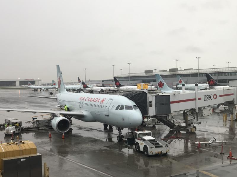 Air Canada jet at Toronto Pearson International Airport in Toronto, Canada, on May 3, 2018. (Photo by Daniel SLIM / AFP) (Photo credit should read DANIEL SLIM/AFP/Getty Images)