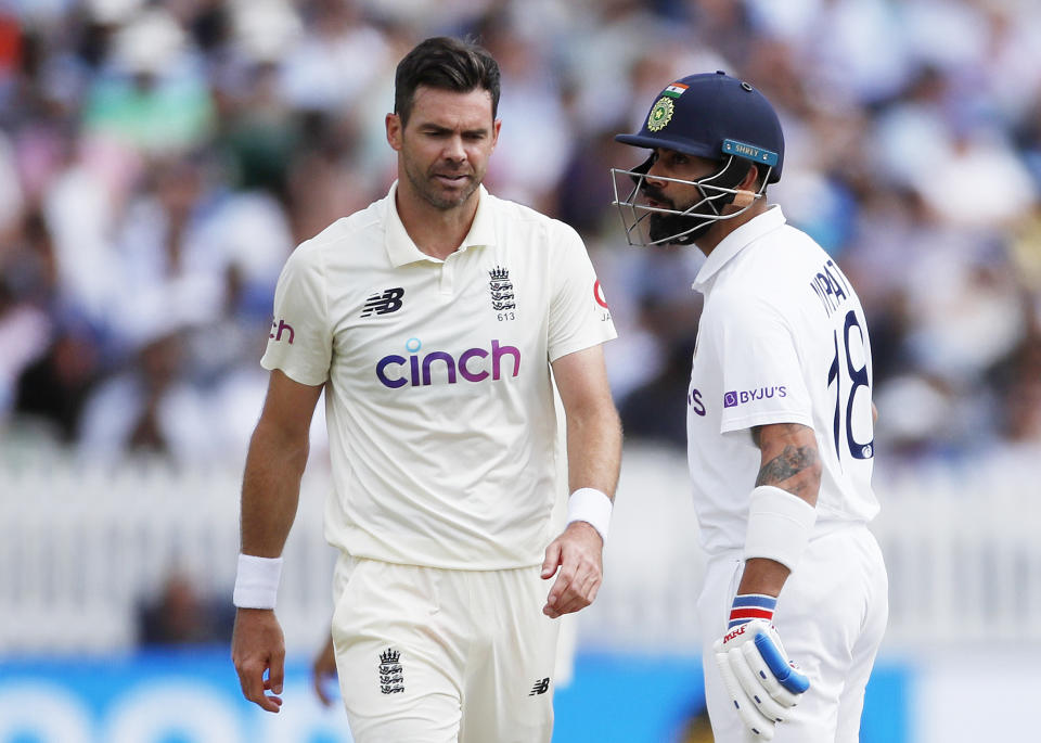 <p>Cricket - Second Test - England v India - Lord's Cricket Ground, London, Britain - August 15, 2021 India's Virat Kohli reacts to England's James Anderson Action Images via Reuters/Paul Childs</p>