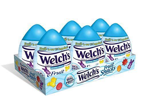"<p><strong>Welch's</strong></p><p>amazon.com</p><p><strong>$27.99</strong></p><p><a href=""https://www.amazon.com/dp/B084P4Z6L9?tag=syn-yahoo-20&ascsubtag=%5Bartid%7C2089.g.1239%5Bsrc%7Cyahoo-us"" rel=""nofollow noopener"" target=""_blank"" data-ylk=""slk:Shop Now"" class=""link rapid-noclick-resp"">Shop Now</a></p><p>Welch's are a great snack to add to Easter basket candy. Each individual egg is packed with a fun-sized pouch of mixed fruit snacks in festive shapes for Easter.</p>"