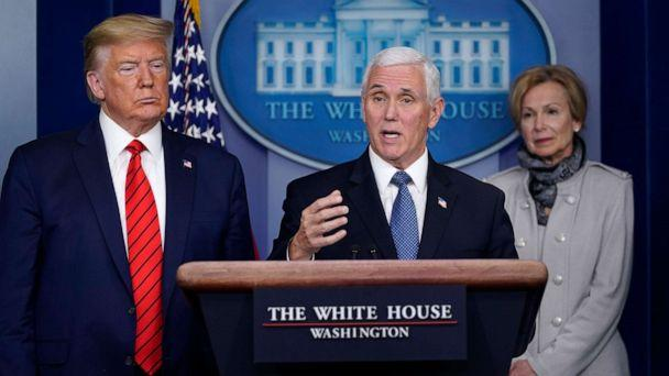 PHOTO: Vice President Mike Pence, center, speaks as President Donald Trump and White House coronavirus response coordinator Dr. Deborah Birx listen during press briefing with the coronavirus task force, at the White House, March 19, 2020, in Washington. (Evan Vucci/AP)