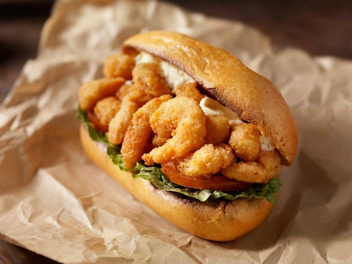 """<p><strong>Shrimp Po' Boy </strong></p><p>This New Orleans staple came into fruition during the Depression-era street car strike, when owners of a local restaurant fed the striking drivers. You don't need to be on strike to taste this hoagie of fried shrimp on crusty French bread, topped with mayo, lettuce, tomatoes, pickles and hot sauce. Try one at <a href=""""http://www.poboyexpress.com/"""" rel=""""nofollow noopener"""" target=""""_blank"""" data-ylk=""""slk:Po-Boy Express"""" class=""""link rapid-noclick-resp"""">Po-Boy Express</a>. </p>"""