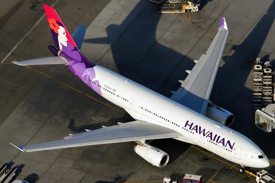 LOS ANGELES, CALIFORNIA, UNITED STATES - 2015/08/31: An Hawaiian Airlines Airbus 330-200 parked at Los Angeles International airport. (Photo by Fabrizio Gandolfo/SOPA Images/LightRocket via Getty Images)