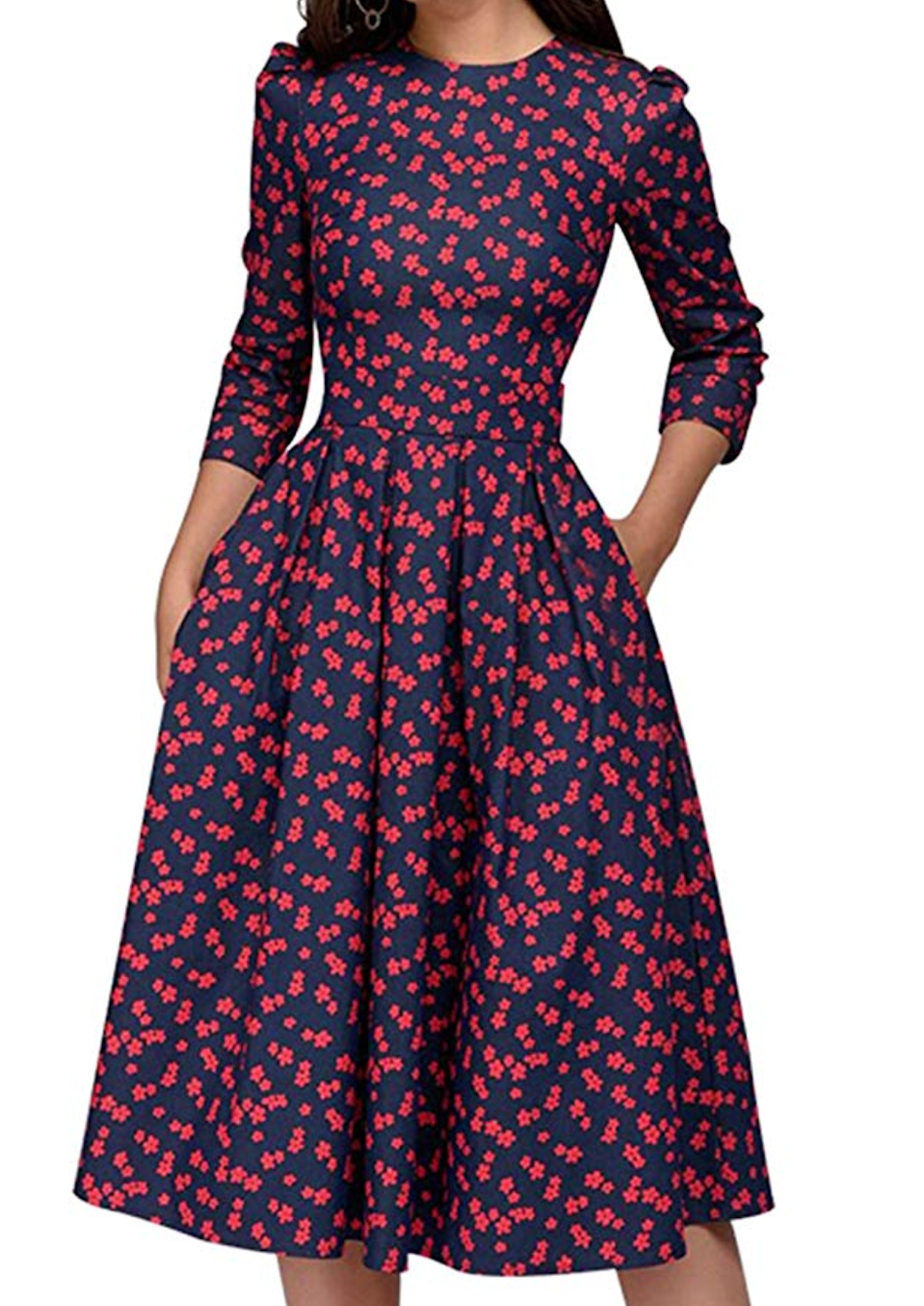 "<br><br><strong>Simple Flavor</strong> Floral Midi Dress, $, available at <a href=""https://amzn.to/2tDML0U"" rel=""nofollow noopener"" target=""_blank"" data-ylk=""slk:Amazon"" class=""link rapid-noclick-resp"">Amazon</a>"