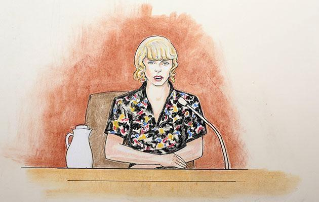 Swift, as captured by a court artist, takes the stand during the trial. Source: SPLASH NEWS