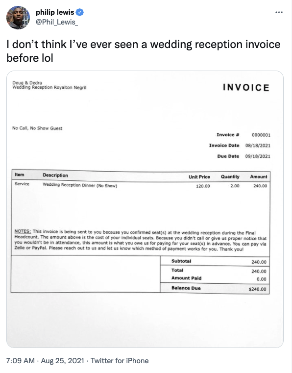 Tweet about bride and groom giving guest an invoice