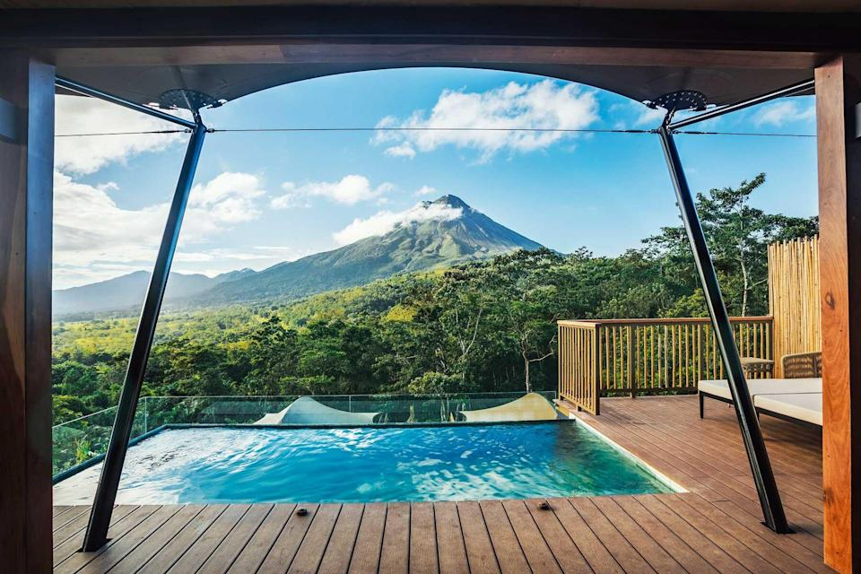 Nayara Tented Camp's private pool overlooking mountains
