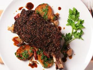 """<p>This peppered steak, or steak au poivre as the French would say,   is a classic French dish with an Aussie twist. <a rel=""""nofollow"""" href=""""http://au.food.yahoo.com/recipes/recipe/-/6940757/peppered-rib-eye-with-potatoes-and-mushrooms-in-stout-gravy/"""">View   recipe</a></p>"""