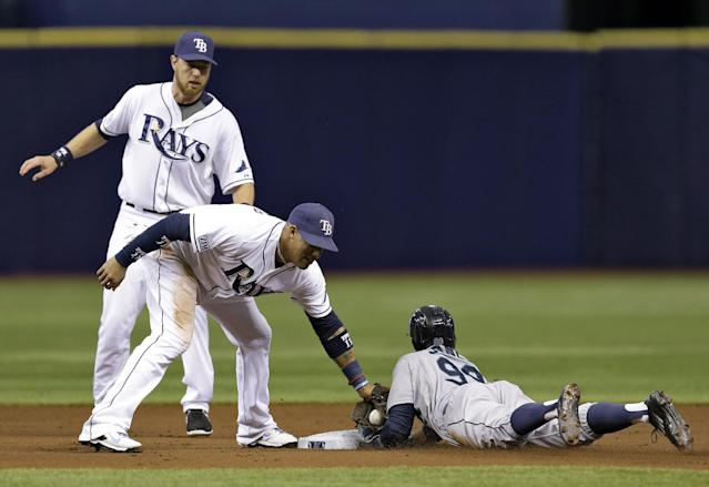 Seattle Mariners' James Jones, right, steals second base ahead of the tag by Tampa Bay Rays' Yunel Escobar, center, as Ben Zobrist, left, backs up the play during the first inning of a baseball game Monday, June 9, 2014, in St. Petersburg, Fla. (AP Photo/Chris O'Meara)