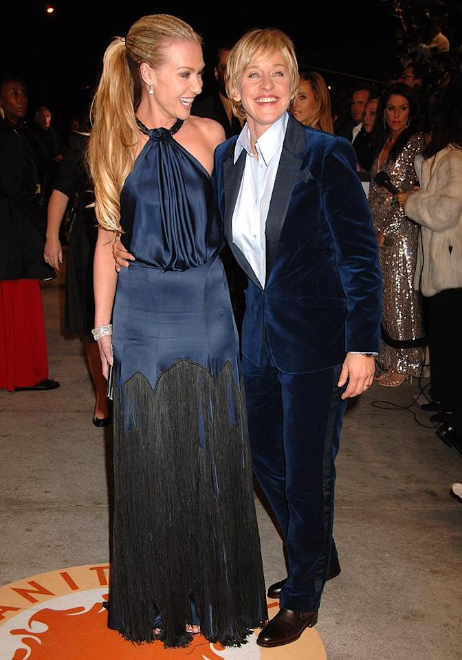 "Ellen DeGeneres (with wife Portia de Rossi) wears the pants in this relationship! Gregg DeGuire/<a href=""http://www.wireimage.com"" target=""new"">WireImage.com</a> - February 25, 2007"