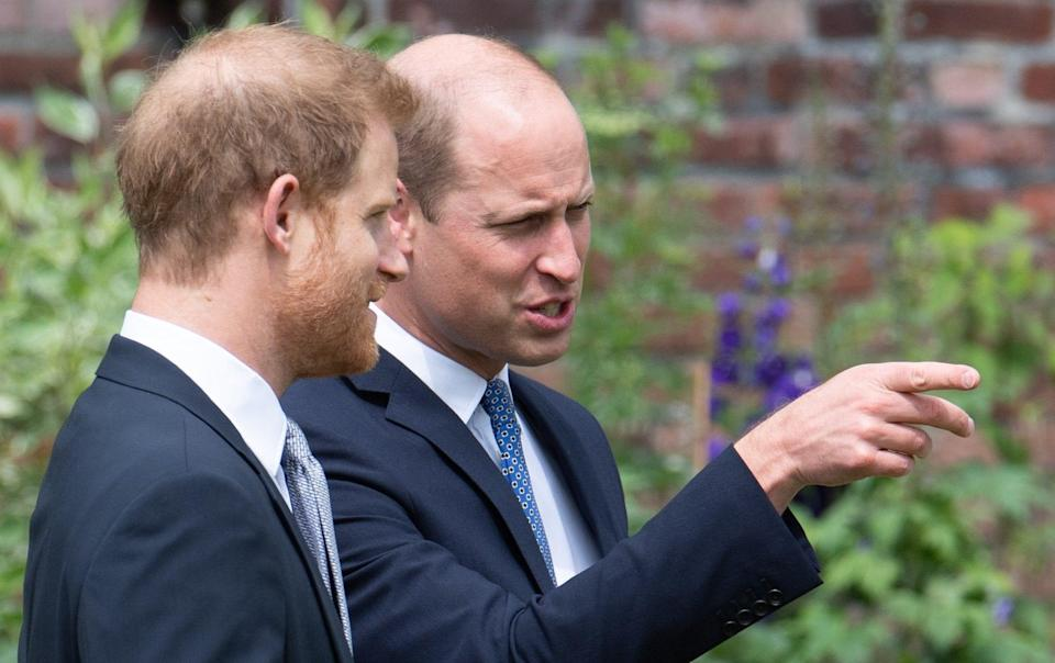 william and harry inspect statue of diana - Getty