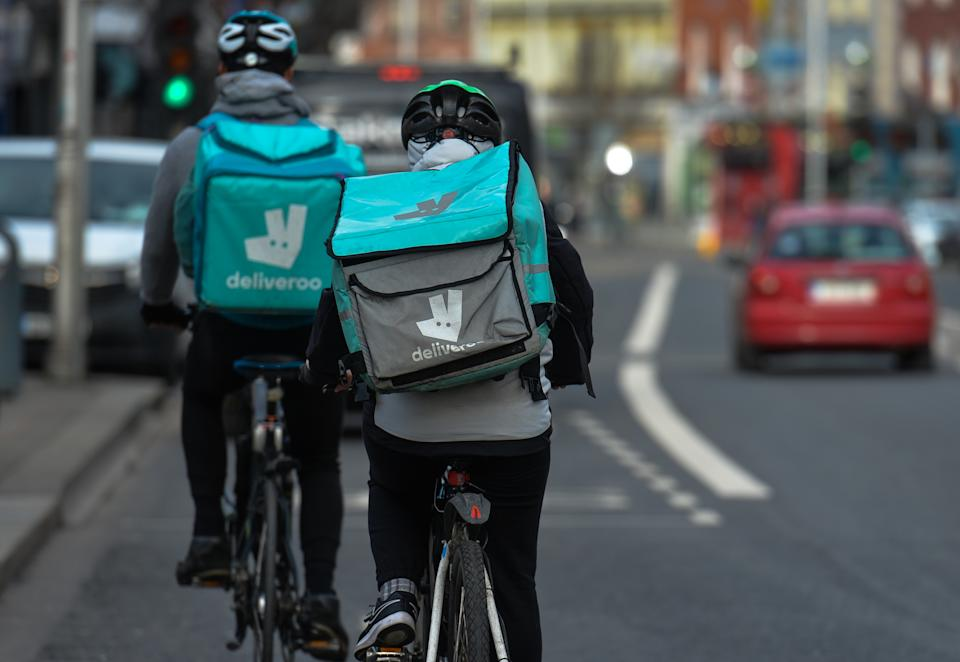 Deliveroo curriers seen in Dublin city center during Level 5 Covid-19 lockdown.  On Wednesday, 3 February, 2021, in Dublin, Ireland. (Photo by Artur Widak/NurPhoto via Getty Images)