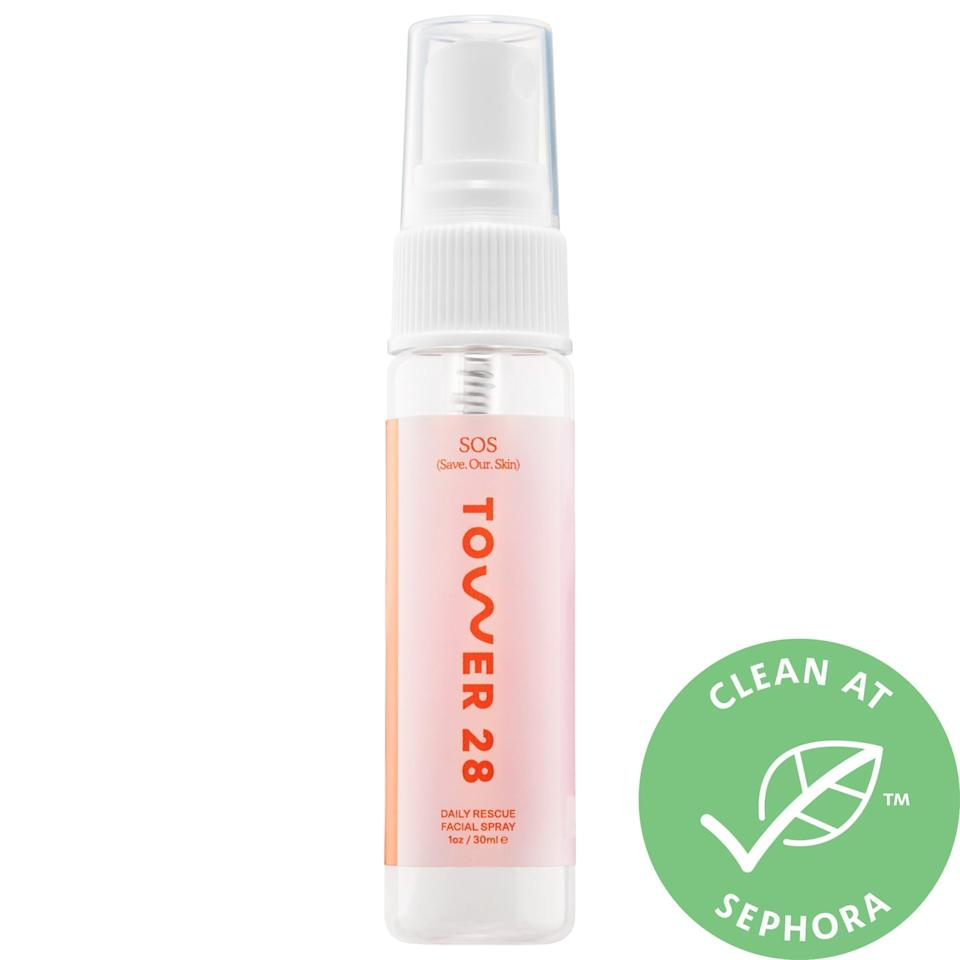 """<p>For an irritated-skin emergency, a spritz of the top-rated <a href=""""https://www.popsugar.com/buy/Tower-28-Beauty-SOS-SaveOurSkin-Daily-Rescue-Facial-Spray-Mini-572835?p_name=Tower%2028%20Beauty%20SOS%20Save.Our.Skin%20Daily%20Rescue%20Facial%20Spray%20Mini&retailer=sephora.com&pid=572835&price=12&evar1=bella%3Aus&evar9=47461551&evar98=https%3A%2F%2Fwww.popsugar.com%2Fbeauty%2Fphoto-gallery%2F47461551%2Fimage%2F47461565%2FTower-28-Beauty-SOS-SaveOurSkin-Daily-Rescue-Facial-Spray-Mini&list1=sephora%2Cdry%20skin%2Cacne%2Csensitive%20skin%2Cbeauty%20shopping%2Cskin%20care&prop13=mobile&pdata=1"""" class=""""link rapid-noclick-resp"""" rel=""""nofollow noopener"""" target=""""_blank"""" data-ylk=""""slk:Tower 28 Beauty SOS Save.Our.Skin Daily Rescue Facial Spray Mini"""">Tower 28 Beauty SOS Save.Our.Skin Daily Rescue Facial Spray Mini</a> ($12) does more than just offer a quick dose of cool relief. This spray includes hypochlorous acid which triggers an immune boost to soothe and heal skin. (FYI, this compound already does the same thing in your body's internal defense system, so you're getting some extra, natural help here.)</p>"""