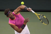 Rafael Nadal, of Spain, serves to Jared Donaldson at the BNP Paribas Open tennis tournament Sunday, March 10, 2019, in Indian Wells, Calif. (AP Photo/Mark J. Terrill)