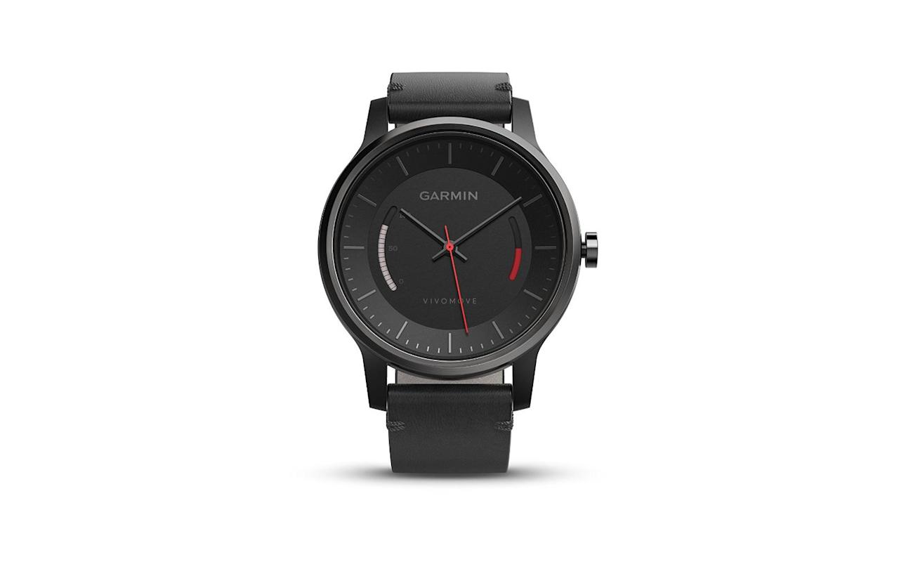 """<p>There are plenty of fitness trackers on the market, but there aren't many that look as stylish as the Vivomove. Garmin's take on an analog watch tracks steps taken, calories burned, and sleep patterns.</p> <p>To buy: <a href=""""https://www.amazon.com/gp/product/B01DOJDQYK/ref=as_li_tl?ie=UTF8&tag=tlgiftsformenwholovetravel-20&camp=1789&creative=9325&linkCode=as2&creativeASIN=B01DOJDQYK&linkId=a412266fbd60c008f65d9bb1b1f58028"""" target=""""_blank"""">amazon.com</a>, $107</p>"""