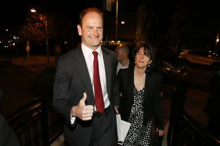 United Kingdom Independence Party (UKIP) candidate Douglas Carswell (L) and his wife Clementine arrive at the Town Hall in Clacton-on-Sea in eastern England October 10, 2014. REUTERS/Stefan Wermuth