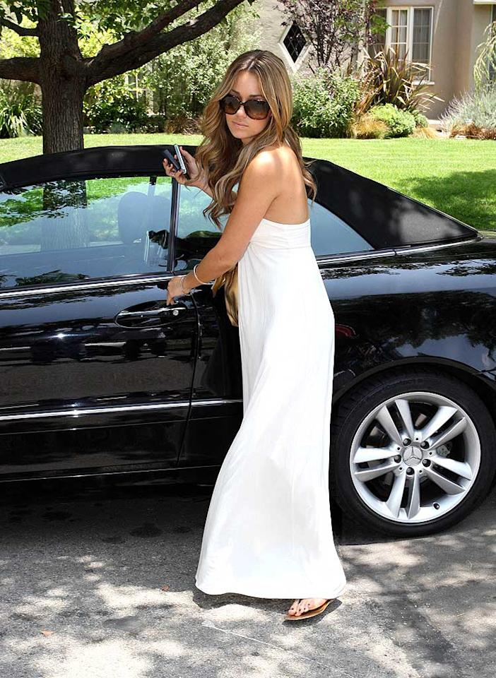 "Lauren Conrad exits her Mercedes on a summer day wearing a comfy maxi dress, big sunglasses, and flip flops. westcoast/<a href=""http://www.x17online.com"" target=""new"">X17 Online</a> - June 3, 2008"