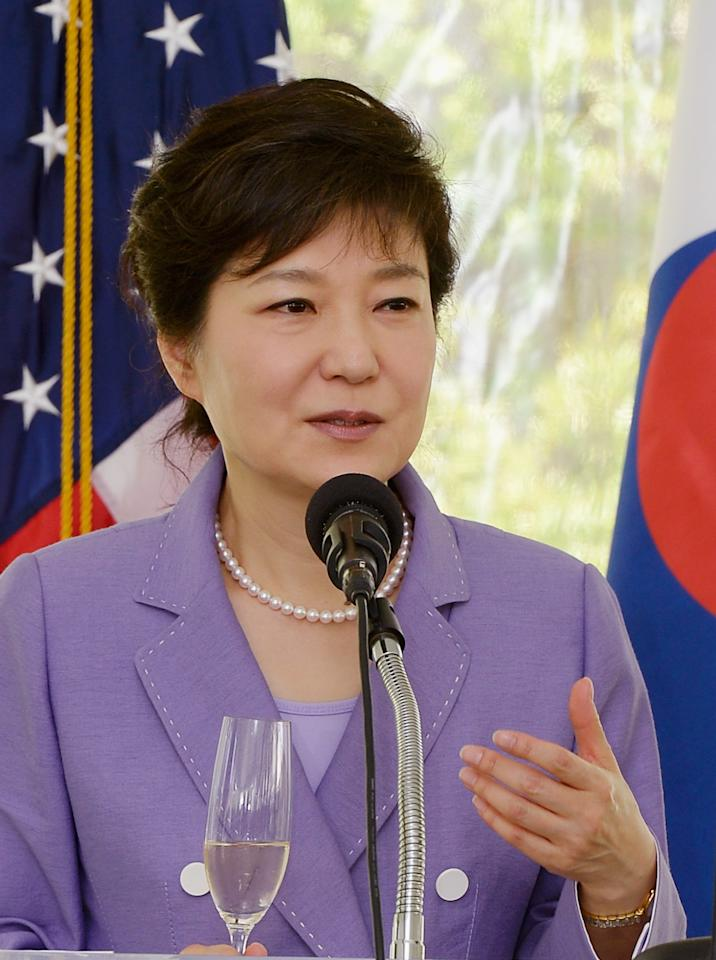 LOS ANGELES, CA - MAY 09:  South Korean President Park Geun-hye speaks dueing a welcoming luncheon with California Governor Jerry Brown and Los Angeles Mayor Antonio Villaraigosa at the Getty House on May 9, 2013 in Los Angeles, California. Park will visit Korean business leaders in Los Angeles today as she continues a five-day, unity-building visit to the United States. Park has been in the United States since Monday, when she visited the United Nations. She met with President Barack Obama on Tuesday and addressed a joint session of Congress on Wednesday.  (Photo by Kevork Djansezian/Getty Images)