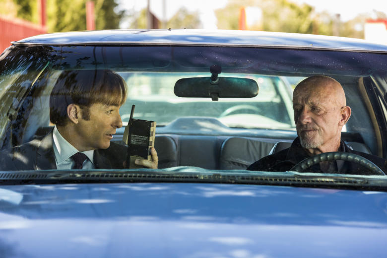 Bob Odenkirk as Jimmy McGill, Jonathan Banks as Mike Ehrmantraut - Better Call Saul _ Season 3, Episode 2 - Photo Credit: Michele K. Short/AMC/Sony Pictures Television