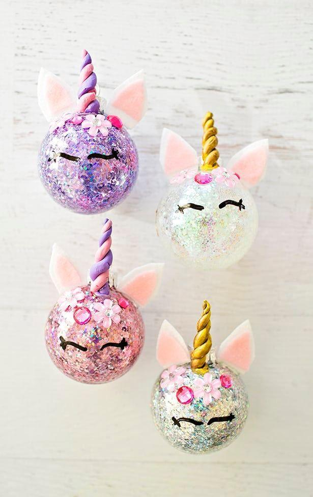 """<p>Nothing—and we mean <em>nothing</em>—is more adorable than these pretty glittery unicorns! Both kids and adults will love making or receiving these little beauties. </p><p><strong>Get the tutorial at <a href=""""https://www.hellowonderful.co/post/diy-glitter-unicorn-ornaments/"""" rel=""""nofollow noopener"""" target=""""_blank"""" data-ylk=""""slk:Hello, Wonderful"""" class=""""link rapid-noclick-resp"""">Hello, Wonderful</a>.</strong></p><p><a class=""""link rapid-noclick-resp"""" href=""""https://www.amazon.com/Crayola-Resealable-Less-Sticky-Alternative-Traditional/dp/B01KQDOTV6/?tag=syn-yahoo-20&ascsubtag=%5Bartid%7C10050.g.28831556%5Bsrc%7Cyahoo-us"""" rel=""""nofollow noopener"""" target=""""_blank"""" data-ylk=""""slk:SHOP CRAFT CLAY"""">SHOP CRAFT CLAY</a></p>"""