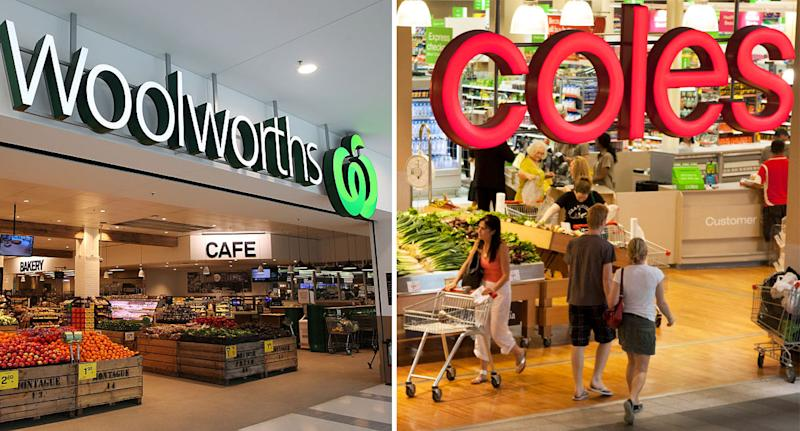 Pictured is a shop front of Woolworths (left) and Coles (right).