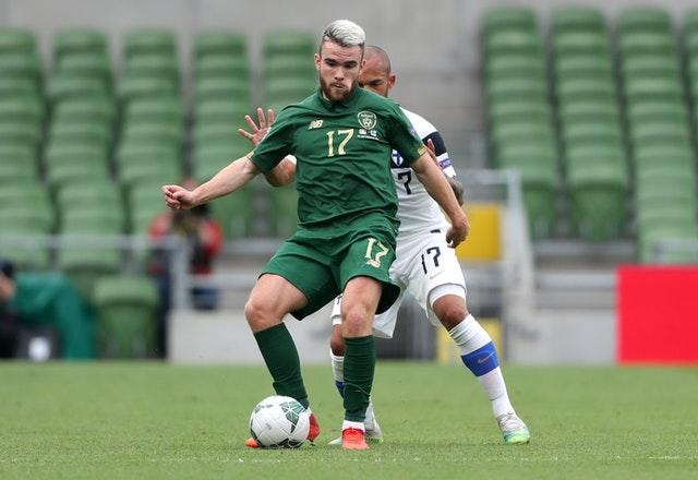 Aaron Connolly (left) had to pull out of the match against Slovakia