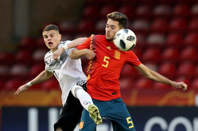 Soccer Football - UEFA European Under-17 Championship - Group D - Spain vs Germany - The Banks's Stadium, Walsall, Britain - May 11, 2018 Spain's Ismael Armenteros in action with Germany's Fabrice Hartmann Action Images via Reuters/Peter Cziborra