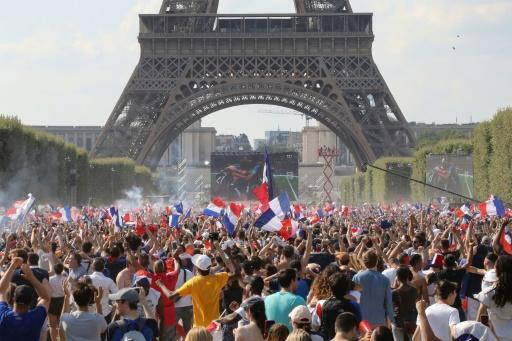 The fan zone near Eiffel Tower erupted with joy after France's World Cup win