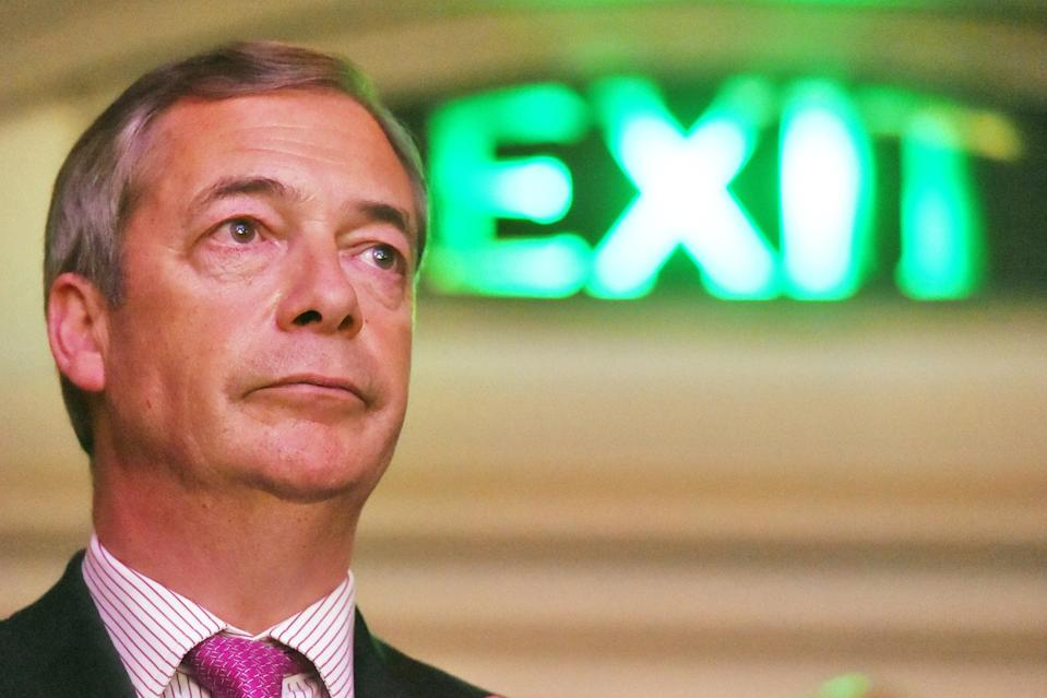 <p>Nigel Farage at a Leave Means Leave rally at Central Hall in London in 2019</p> (PA)