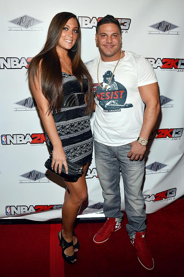 """Jersey Shore"" stars Sammi ""Sweetheart"" Giancola and Ronnie Ortiz-Magro looked in love at the club. The smush buddies recently revealed that they've gotten back together and have ditched their shore house for a NYC abode. (9/26/12)"
